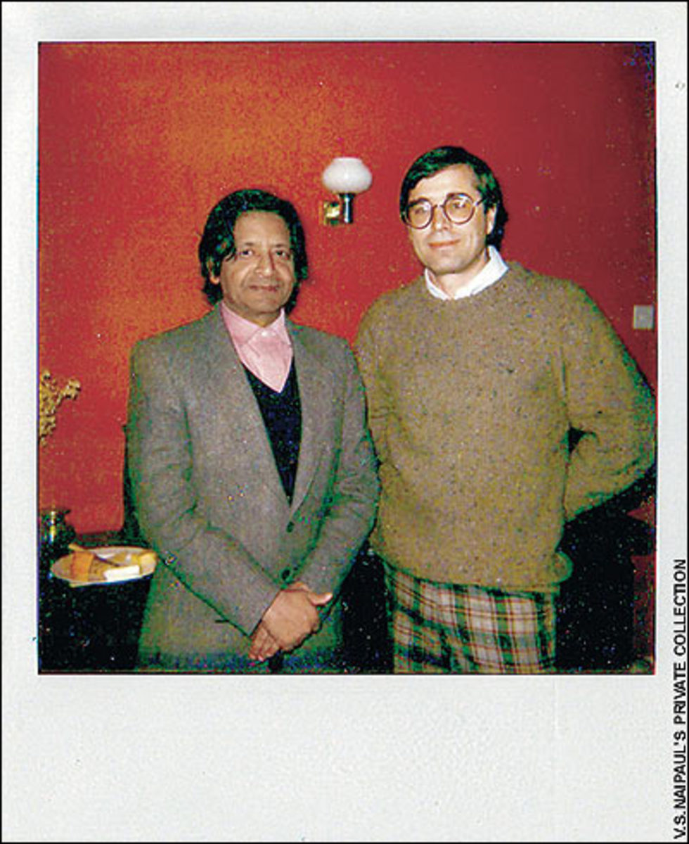 Paul Theroux (right) in 1986