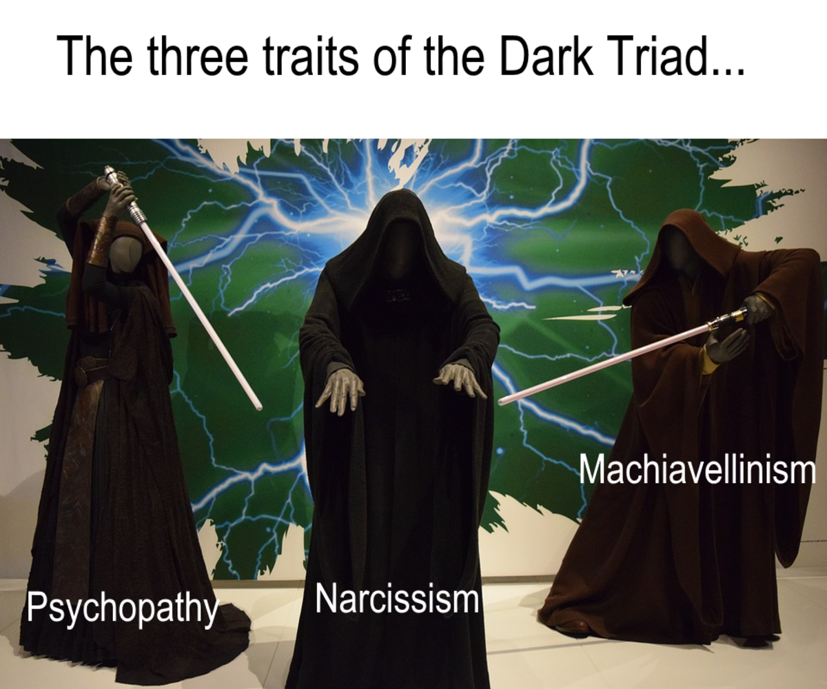The three personality profiles that comprise the Dark Triad - Narcissism, Psychopathy, and Machiavellianism.