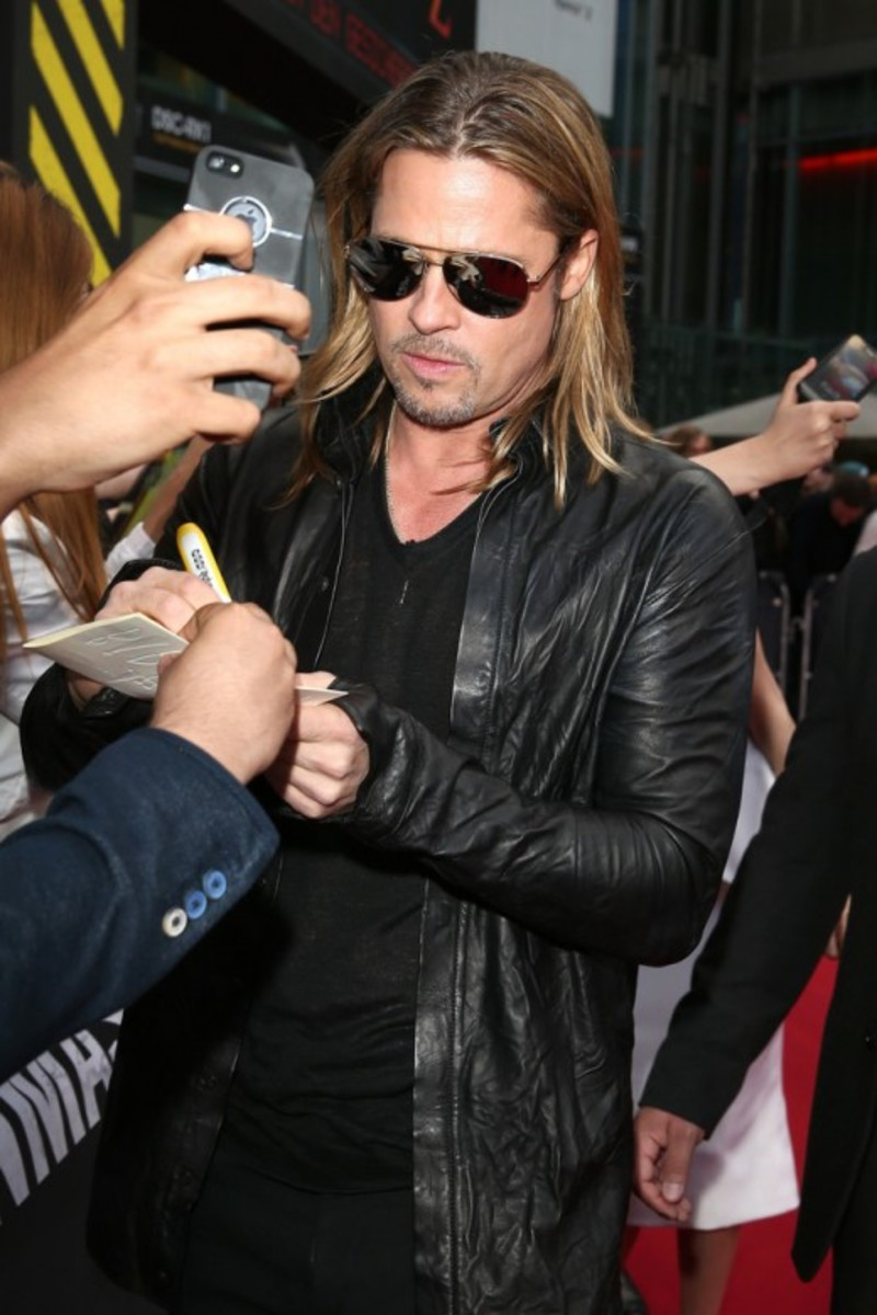 Brad Pitt in a leather shirt