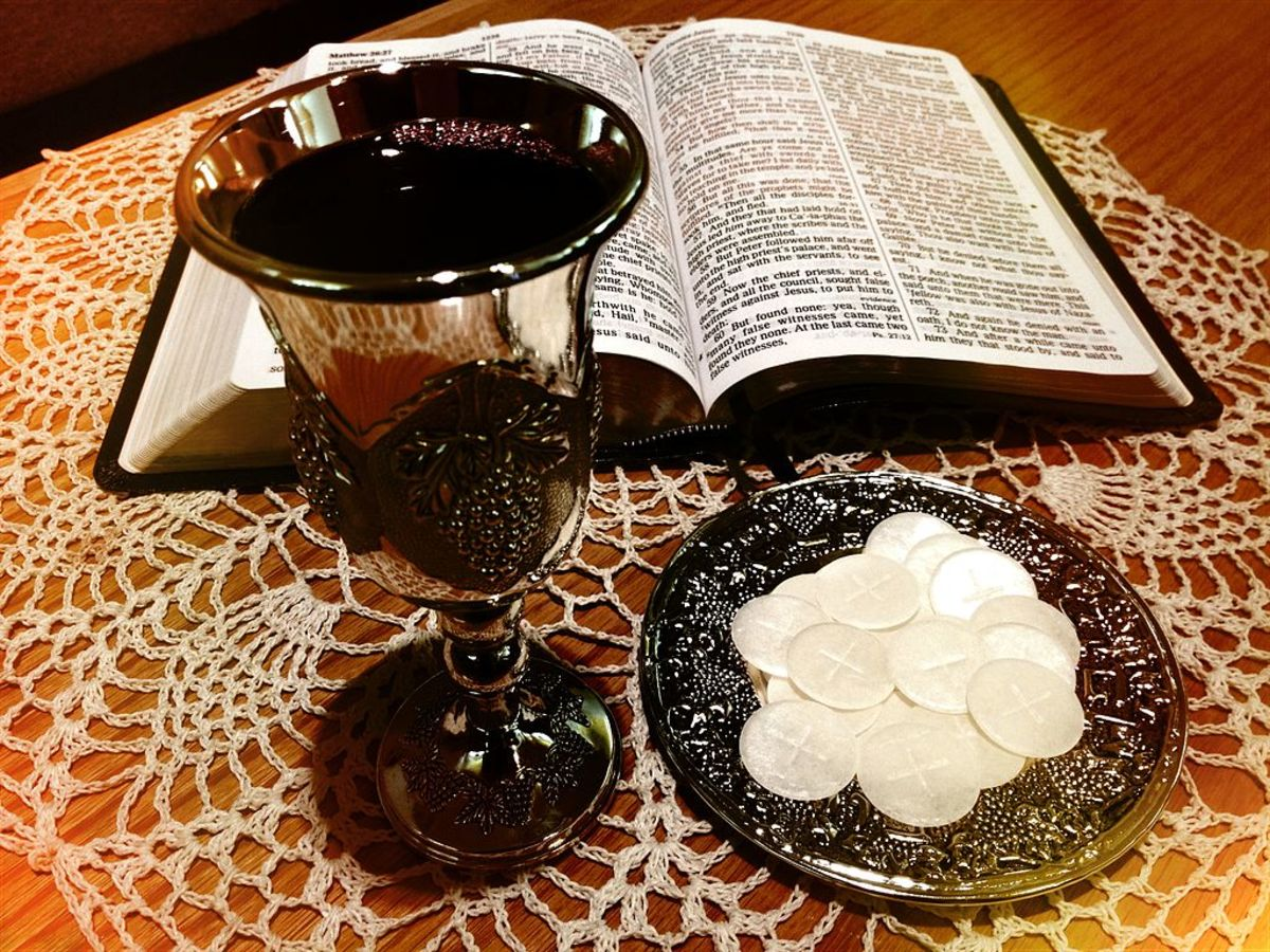 "Communion wafers (Bread) symbolizing Jesus; ""Communion Table"""