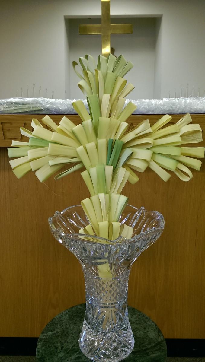 Cross (made from palm) symbolizing Jesus