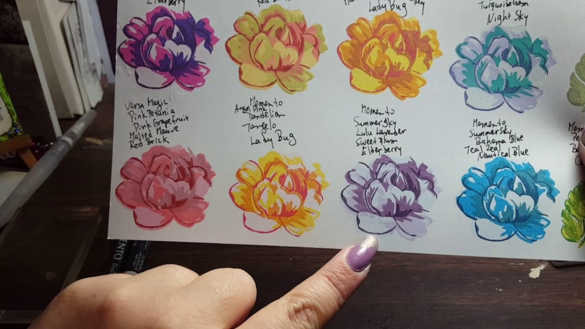 Create a sample sheet for your layered stamps so that you have a reference of which colors work best together. Will save you time later.
