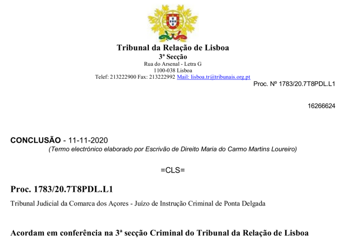 Image of top page in original Portuguese legal case invalidating PCR test, captured from original online document