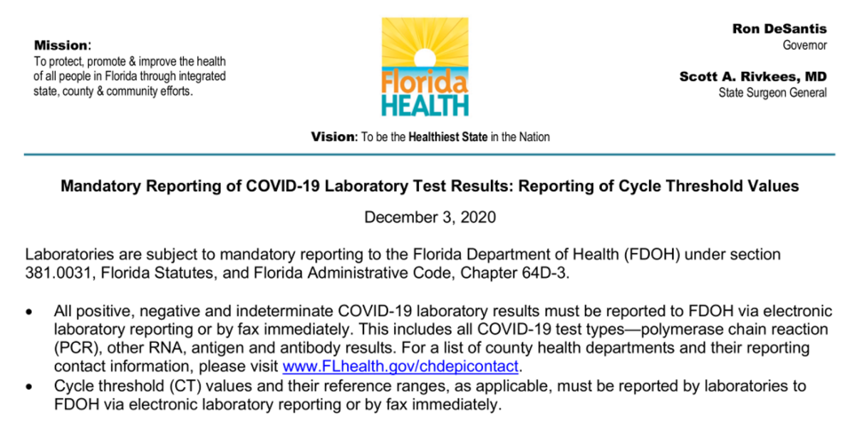 Image of top part of Florida 12-03-2020 memo mandating reporting cycle threshold values, captured from original online document