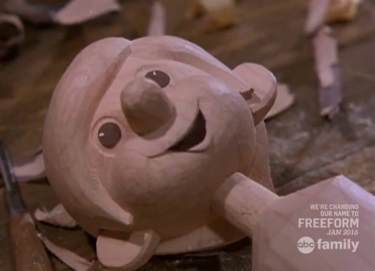 Pinocchio when he was first carved into puppet form.