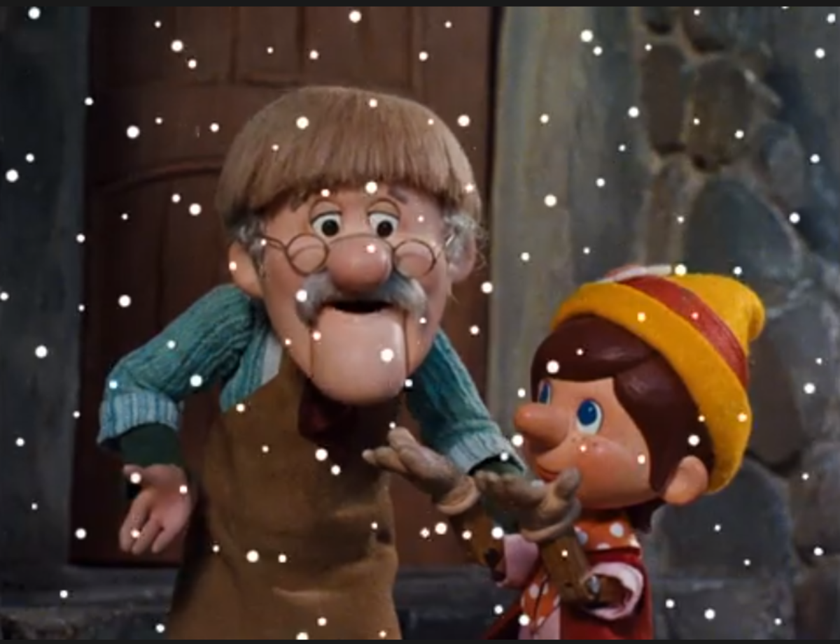 Geppetto explaining to Pinocchio about Christmas and snow.