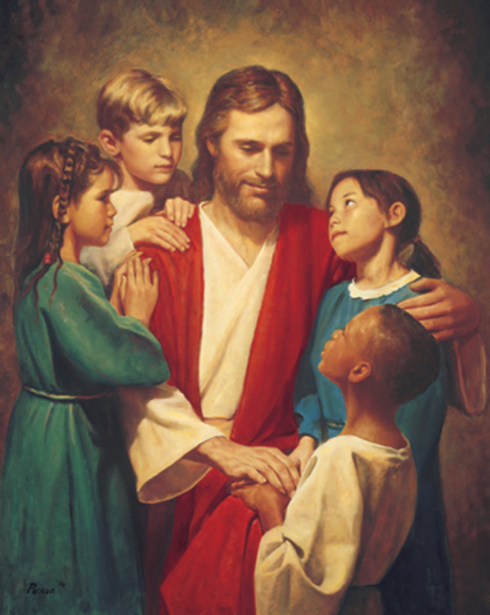 Jesus and the children. By Del Parson