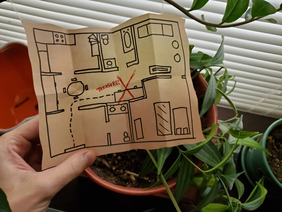 I found a map in the plant—the final clue! Time to retrieve my loot!
