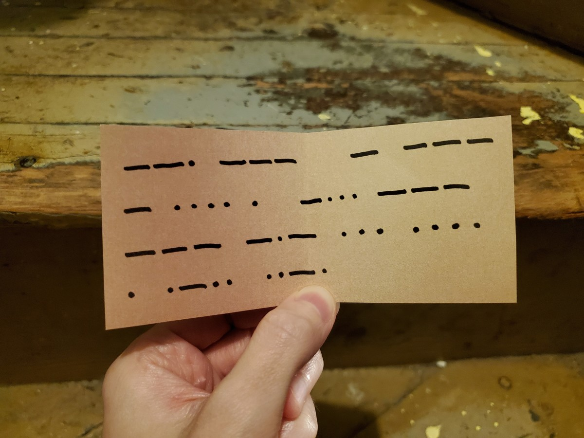I got the answer 195, which told me to go to the stairs. This next clue appears to be written in some sort of code. Are those dots and dashes?