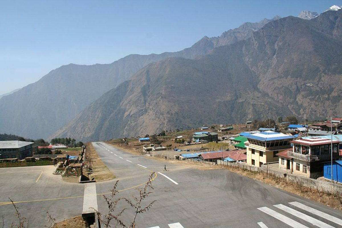 A short runway and surrounding mountains make Lukla Airport one of the most dangerous landing places in the world.