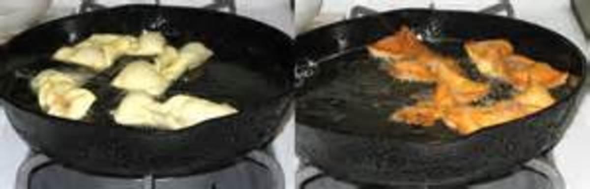 pan frying the cookies