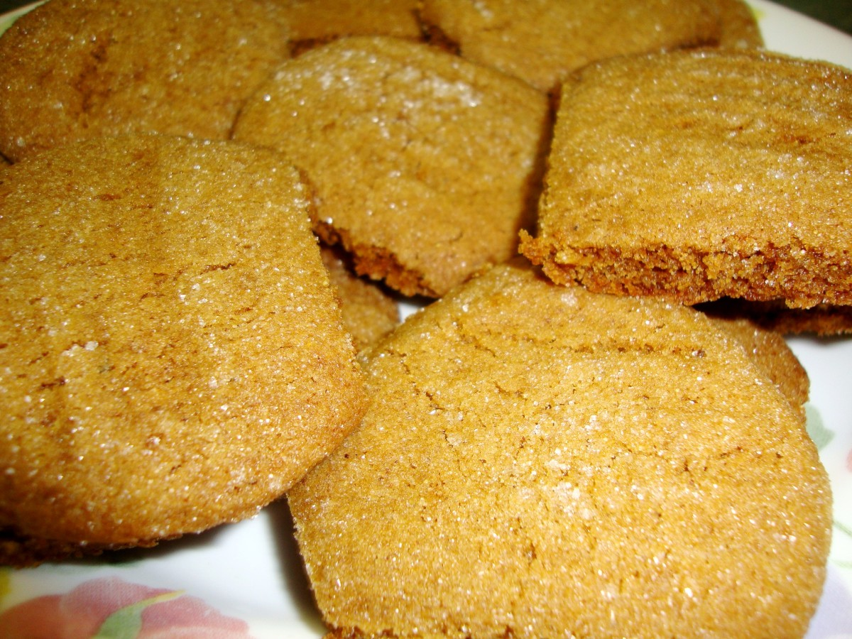 Baked ginger cookies sparkle with a sugar coating.