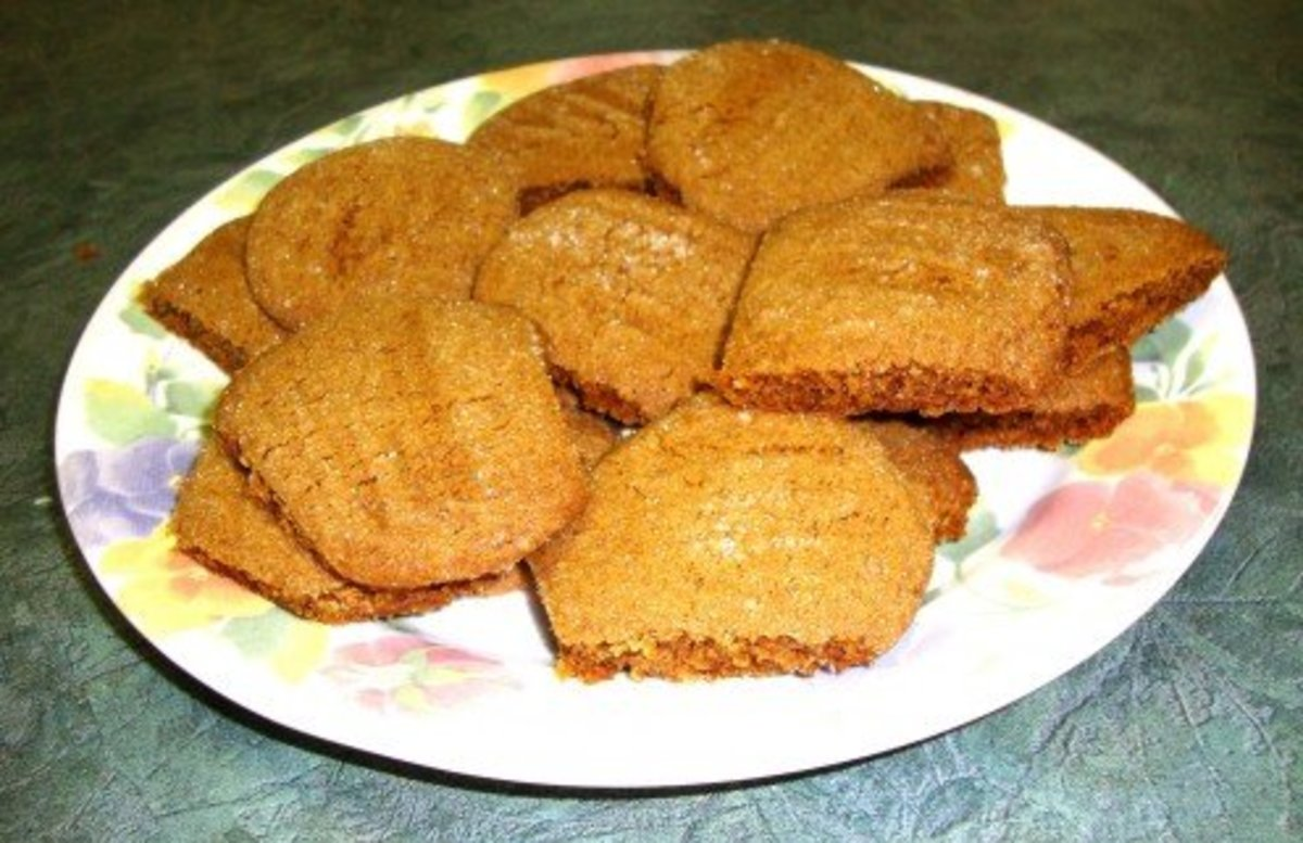 Baked ginger cookies on plate.
