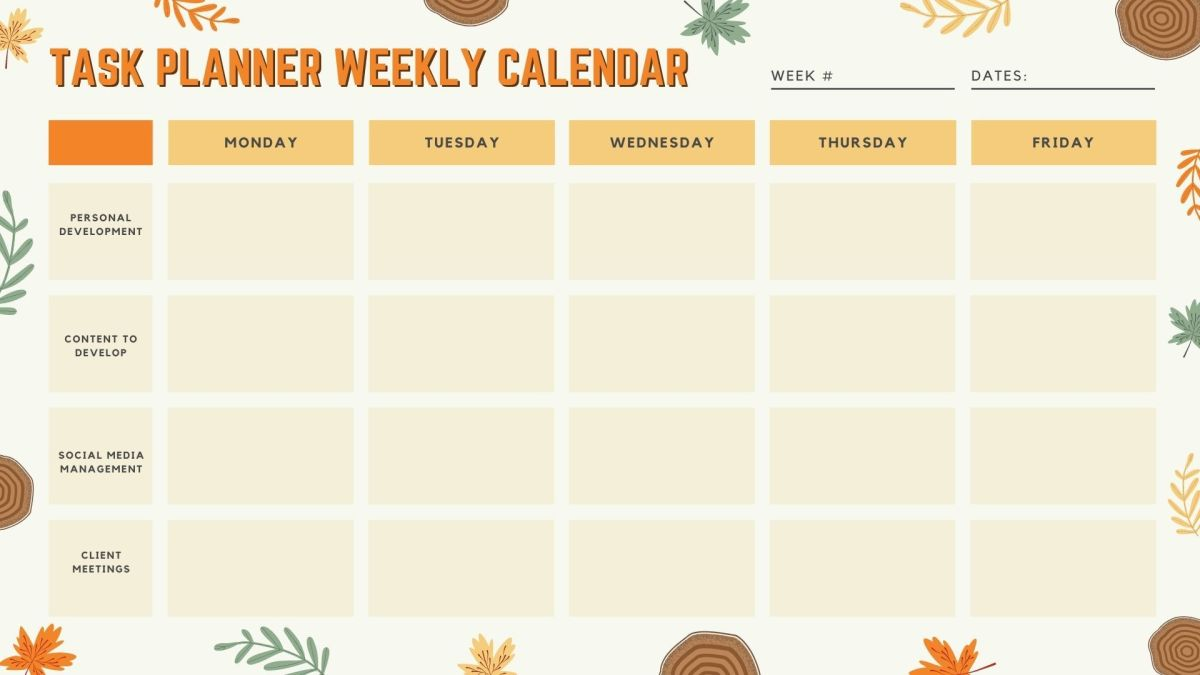 Weekly Calendar (Printable Template)