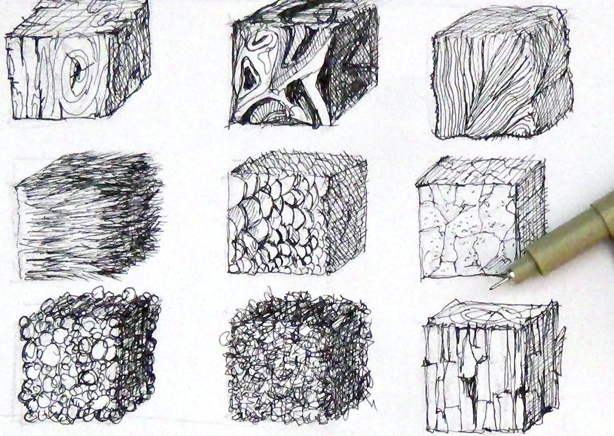 For a start, begin drawing these textural cubes. You can transform them into spheres and cuboids as well.
