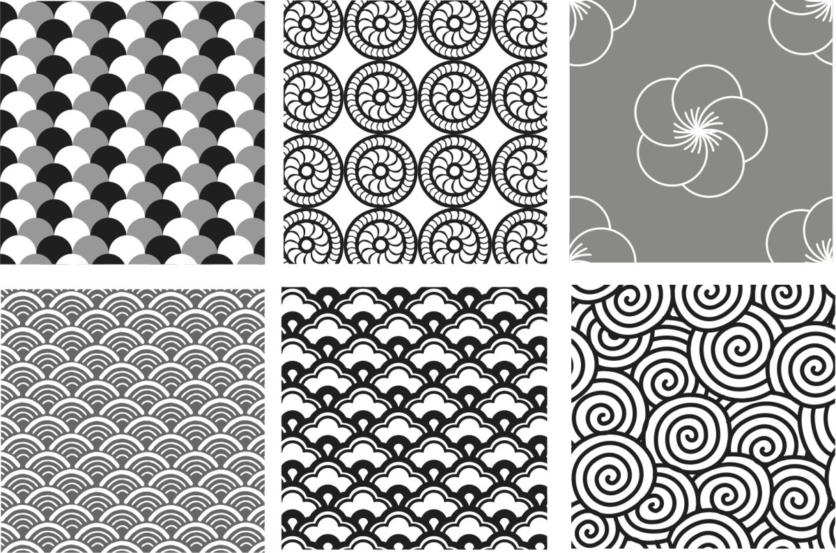 Patterns can be drawn through repetition, rotation, and reflection.