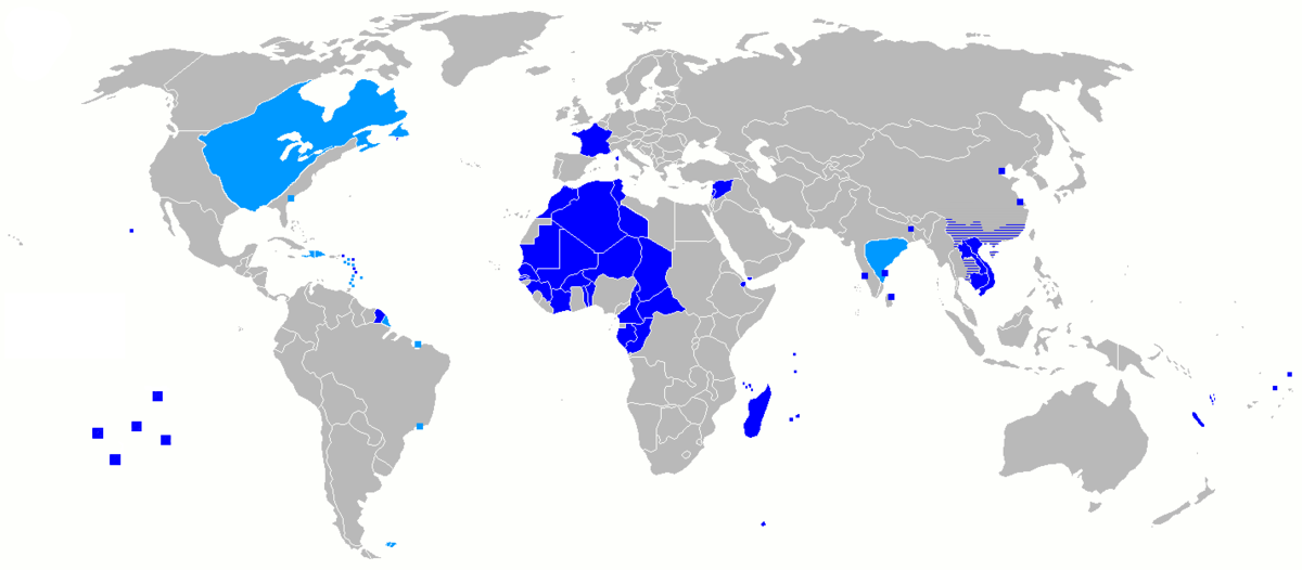 The light blue on the map is the territory of the first French colonial empire, while the dark blue is that of the second