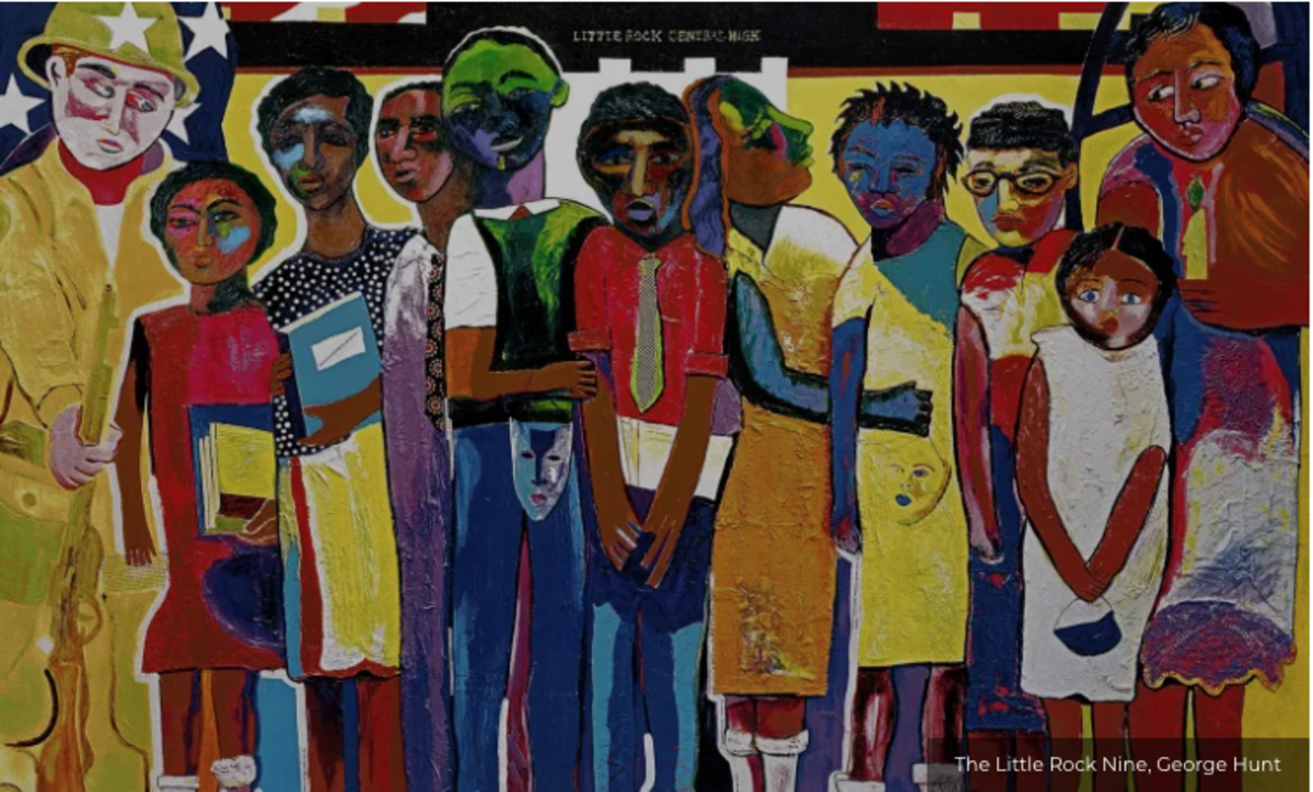"""In 2005, George Hunt's painting """"Little Rock Nine"""" became a US postage stamp."""