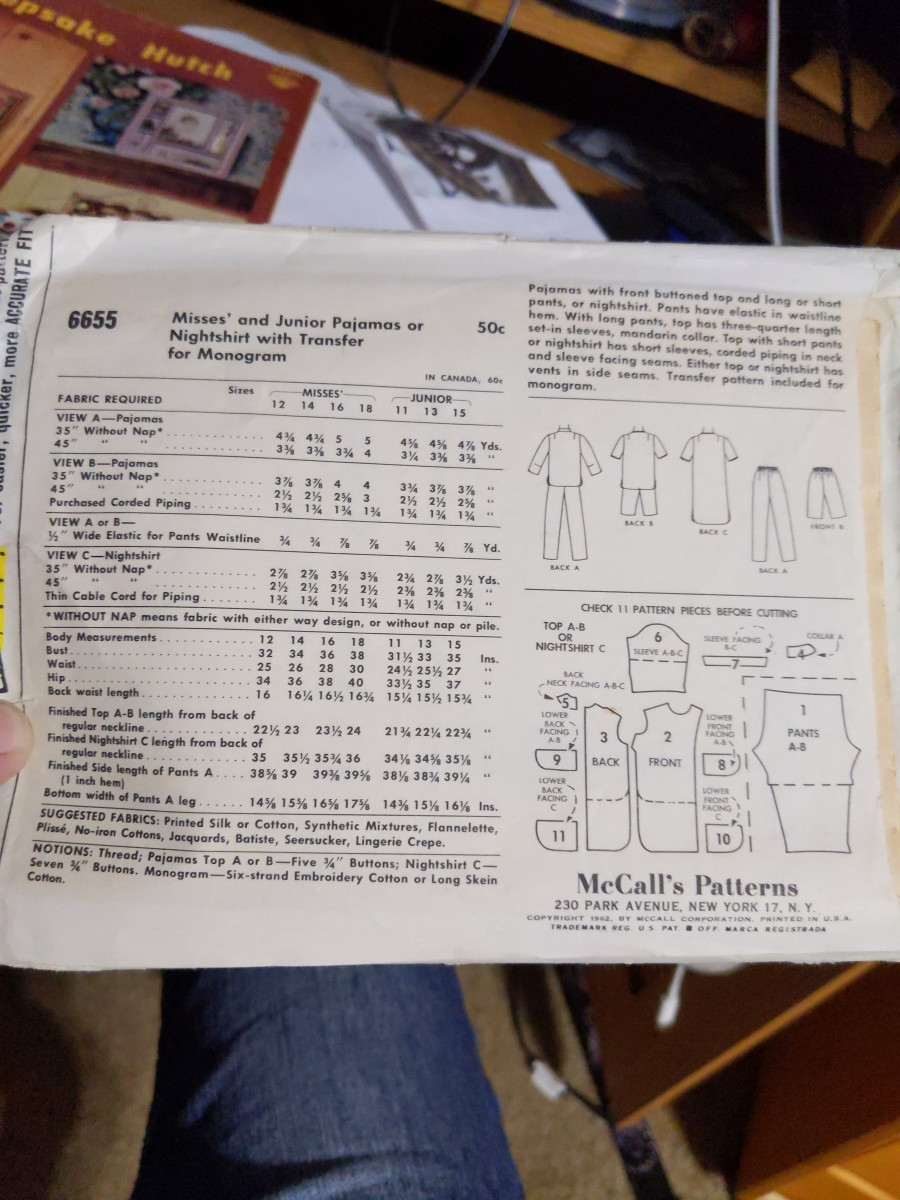 The range of sizes for the patterns, suggested styles, pattern pieces, fabric needed. All information on back of package.