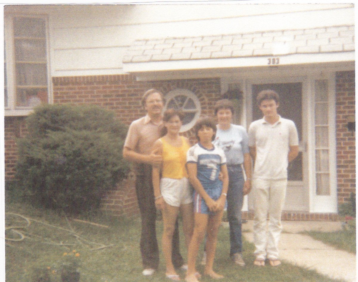The author with ex-wife, two sons, and sister in Maryland in 1986.
