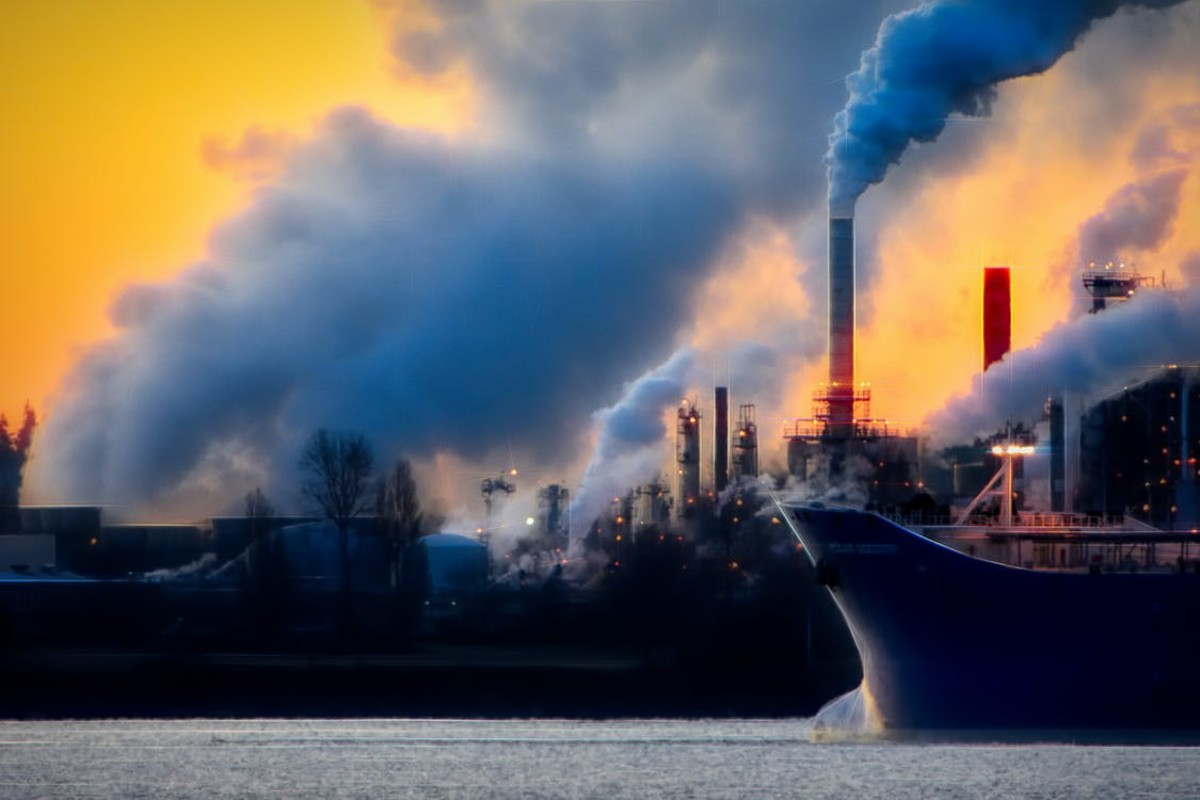 Blue and white smoke over the horizon.