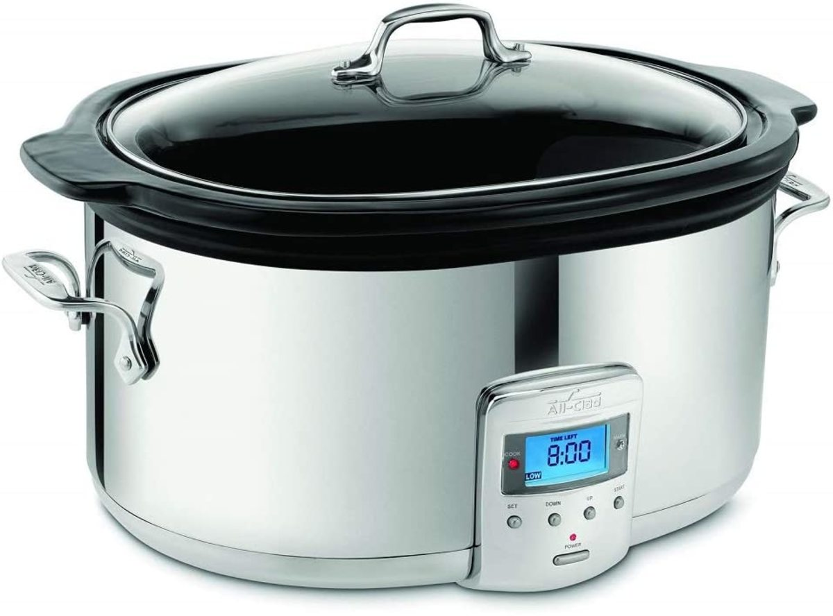All-Clad SD700450 Programmable Oval-Shaped Slow Cooker with Black Ceramic Insert and Glass Lid.