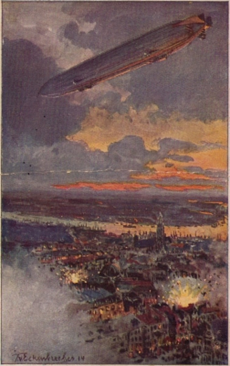 A German Zeppelin on a bombing raid over Antwerp.