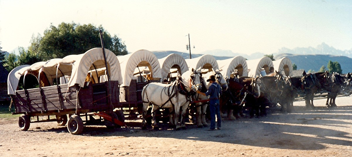 We boarded one of these Covered Wagons for our Cookout and Wild West show following our whitewater rafting experience.
