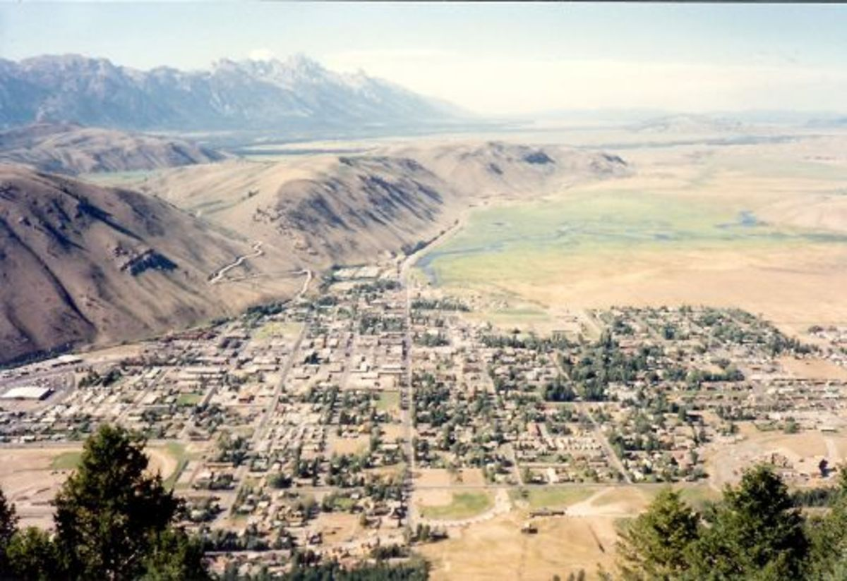Good view from the top of Snow King Mountain overlooking the town of Jackson Hole - Notice the road leading up the butte to Spring Creek Ranch