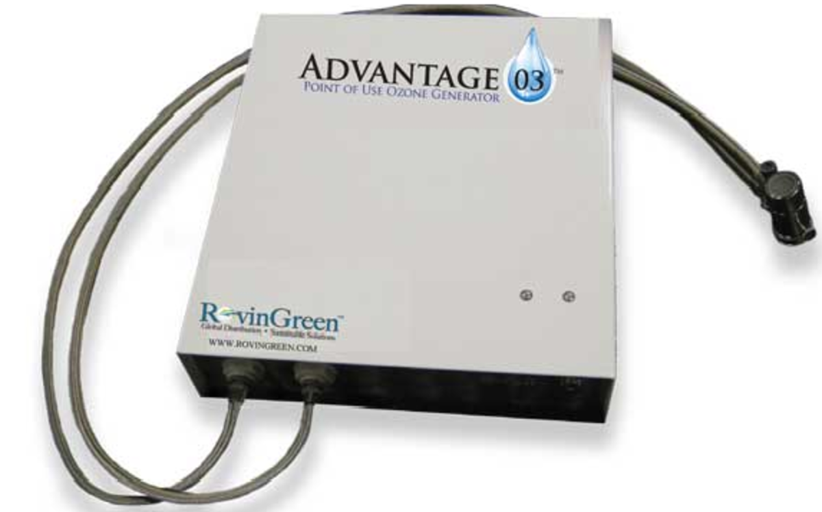 Point of use water filtration and ozone generator with LED lights and carbon filter for pure water