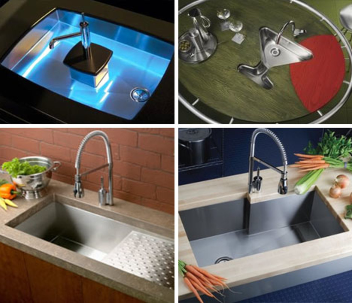 Four Beautiful food preparation sink and faucet with filtered water mounted under the kitchen counter top