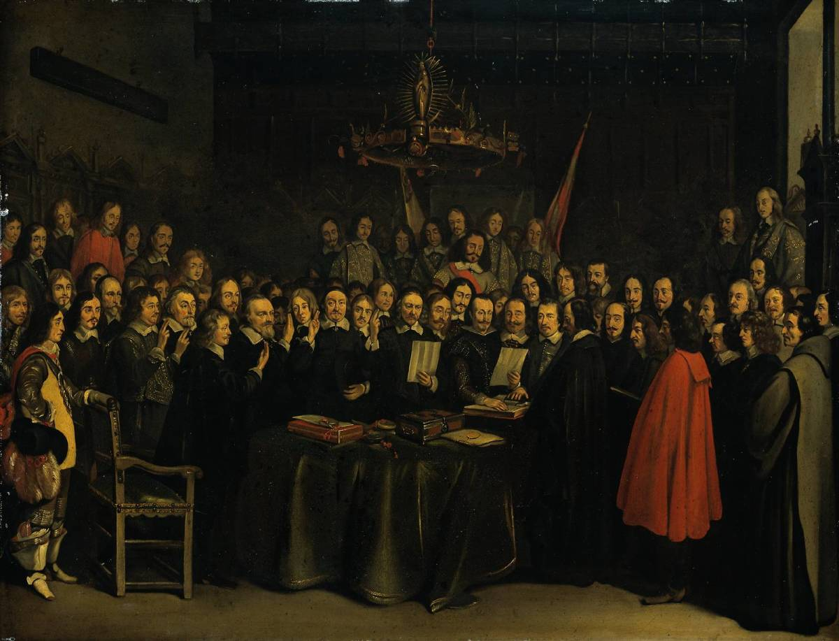 The signing of the Treaty of Westphalia (painting by Gerard Terborch)