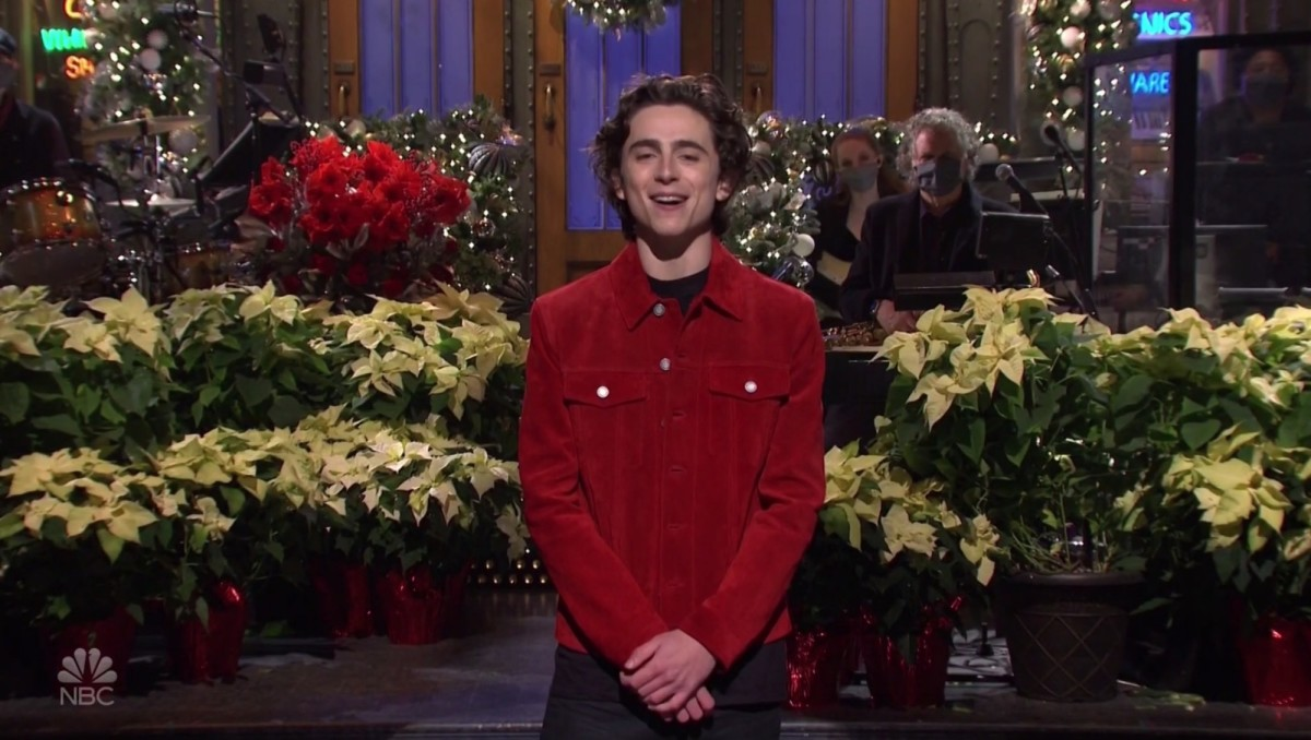 Timothee Chalamet hosts Saturday Night Live television show.