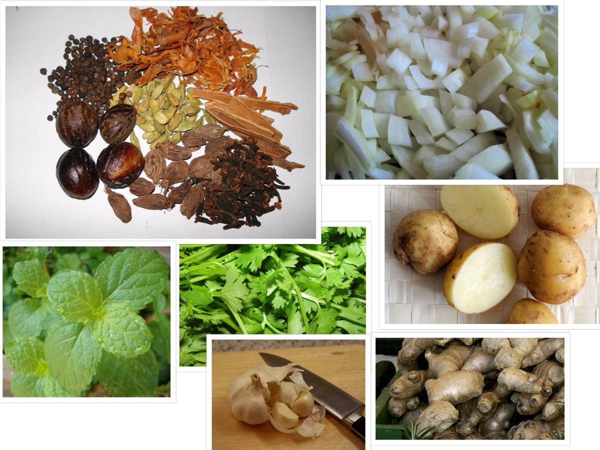 A collection of some Ingredients that go into the recipe - clockwise from top left - garam masala, diced onions, potato halved, ginger, garlic, coriander and mint leaves