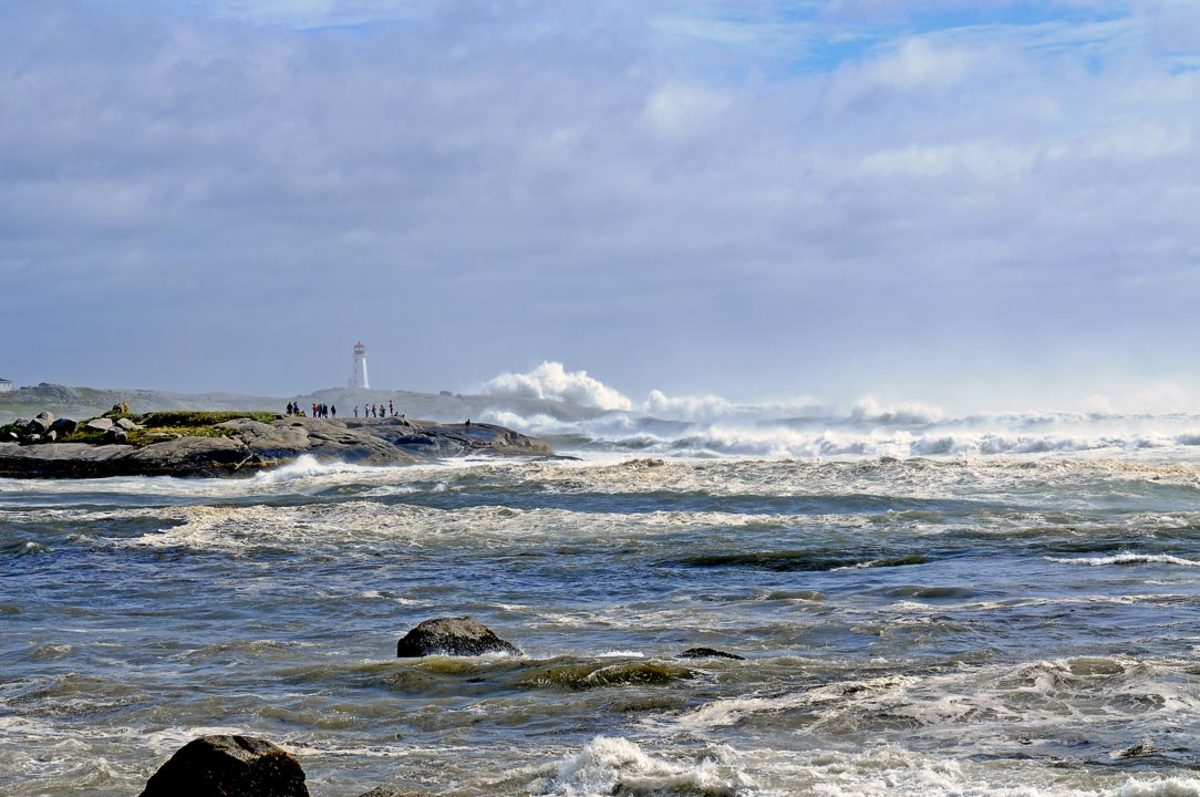Waves Lash Peggy's Cove During Hurricane Bill.