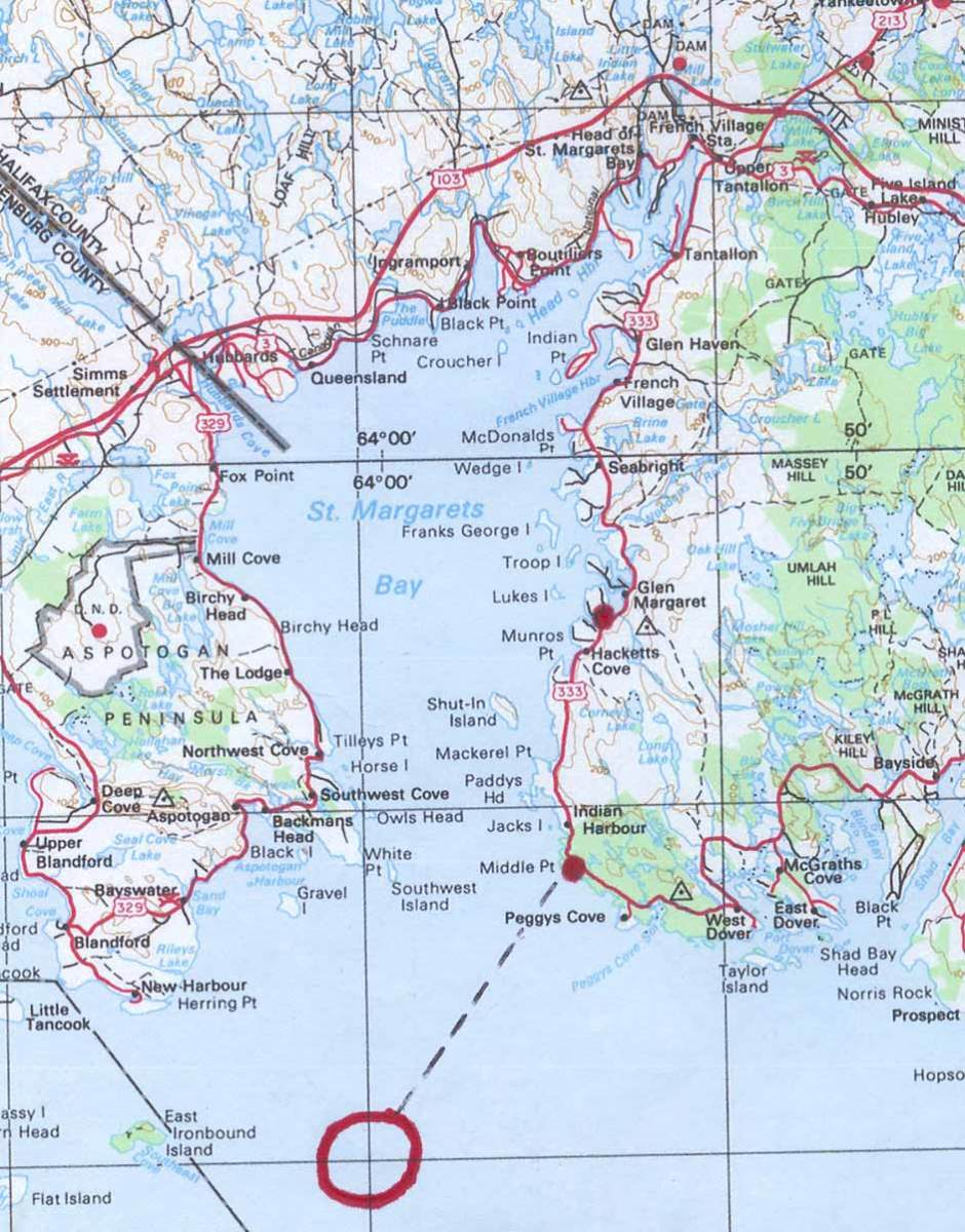 Map of Peggy's Cove Area in Nova Scotia