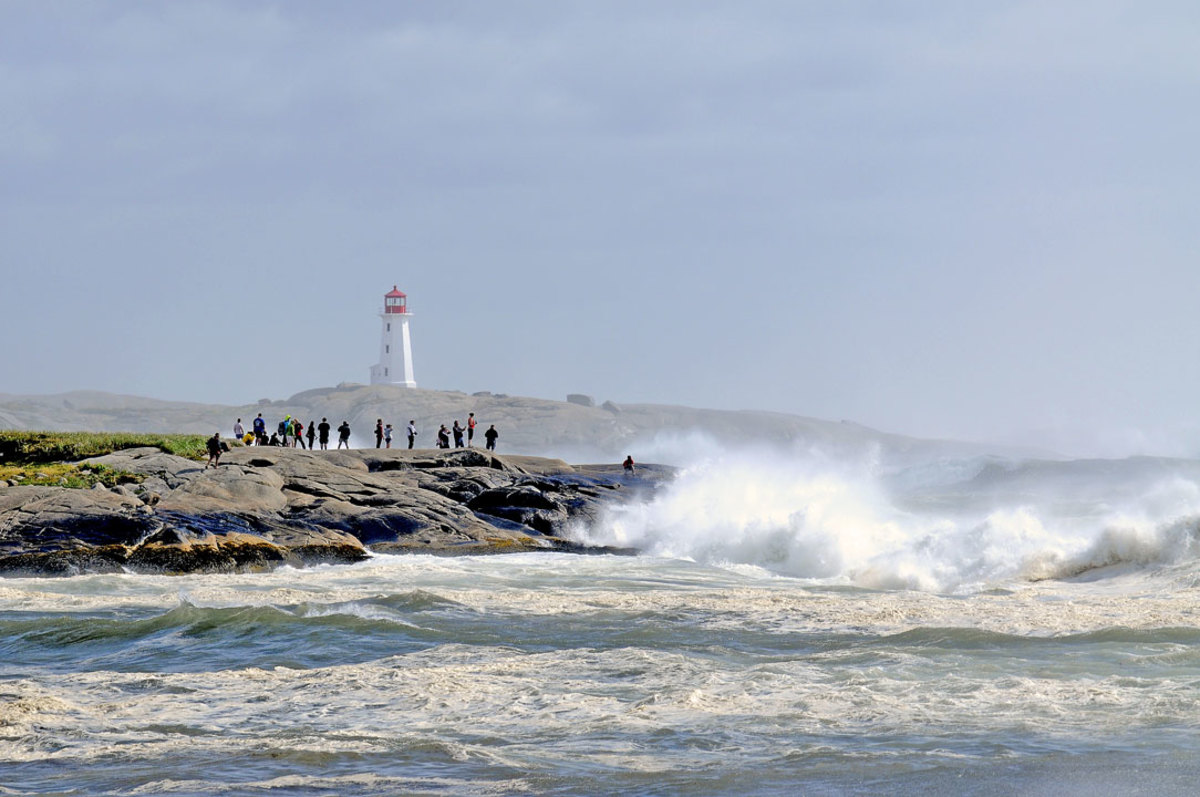 Curious Spectators imperiled by Force of Hurricane Bill