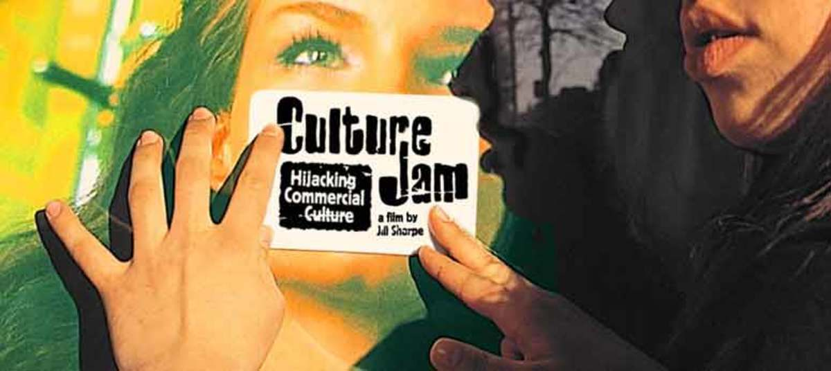 Cultural Jammers Hijacking Commercial Culture, logos and armed with DIy anti-ad stickers, custom neon, aiming to subvert and reclaim corporate media space