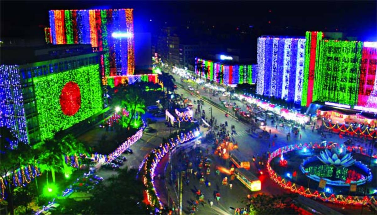 Night view of cities on the occasion of the victory day of Bangladesh