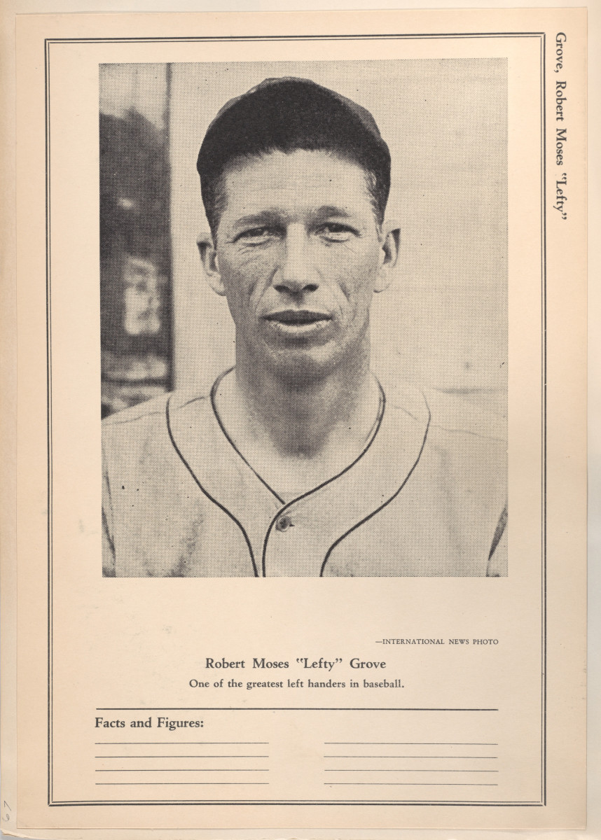 Lefty Grove on a Sports Exchange All-Stars trading card. Grove won two major league Triple Crowns and led the Athletics to the World Series in both years.