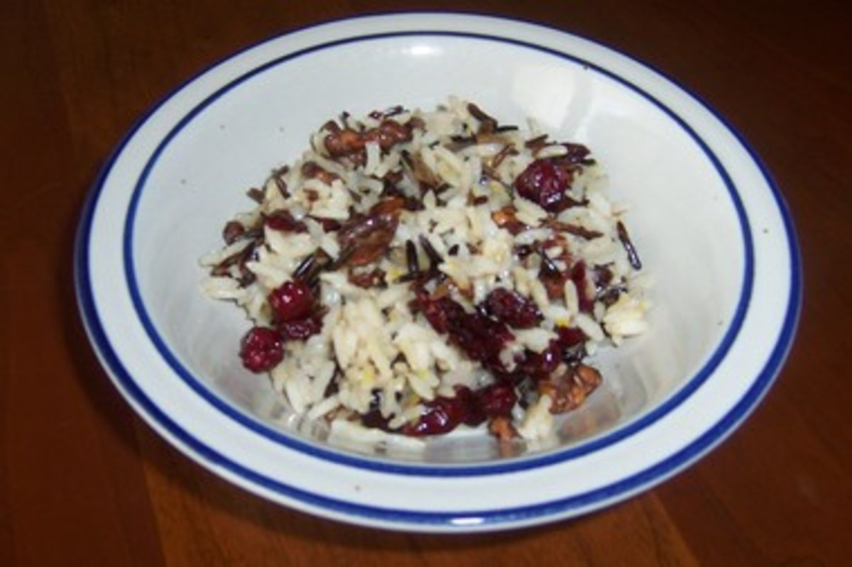 Wild Rice, Dried Cranberries and Walnuts