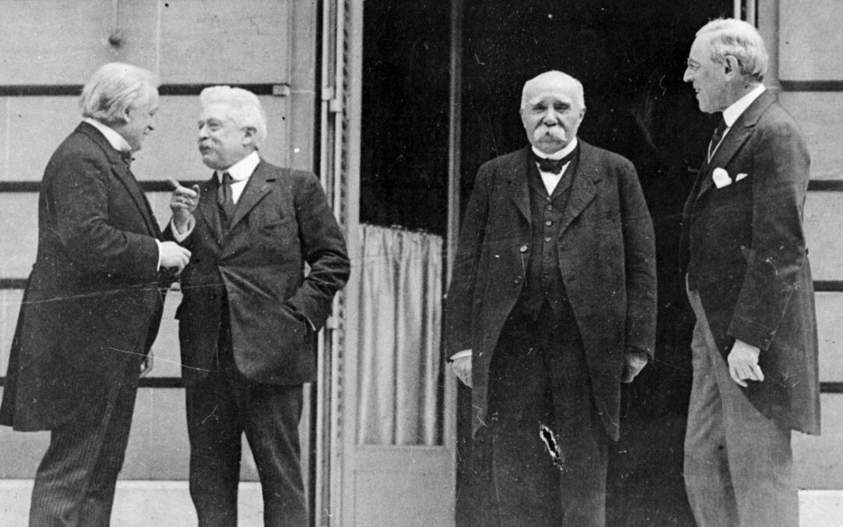 The four crucial figures from the Paris Peace Conference, Wilson, Vittorio Orlando, Lloyd George, and Clemenceau.