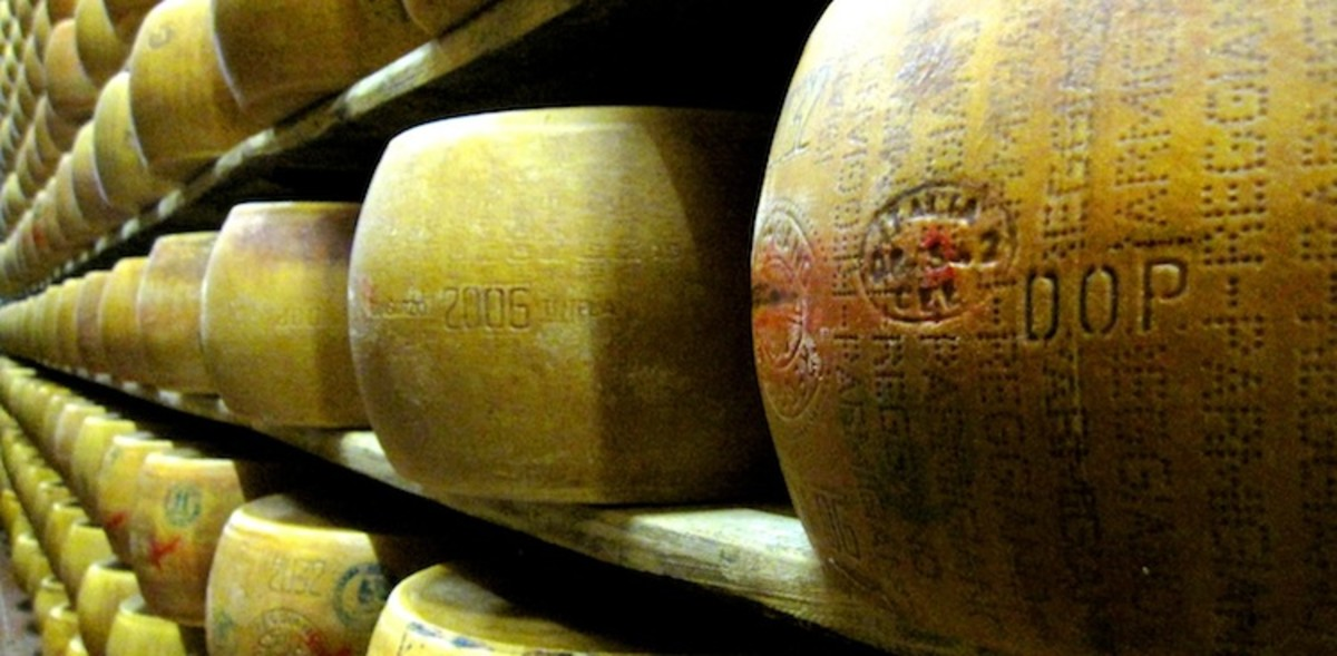 70-pound wheels of Parmagiano-Reggiano cheese