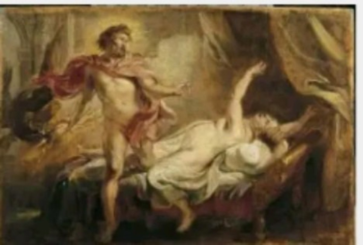 painting of Semele being burnt to death, by painter Paul Rubens