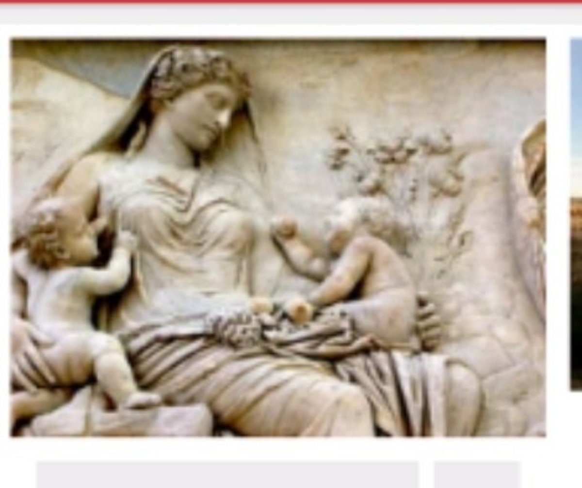 depiction of Silvia with her twins