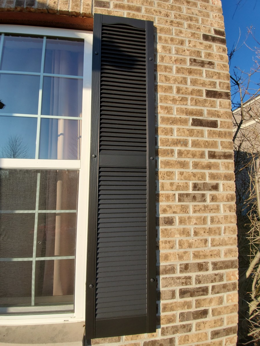Window shutters I spray painted. The color is Tricorn Black from Sherwin Williams.
