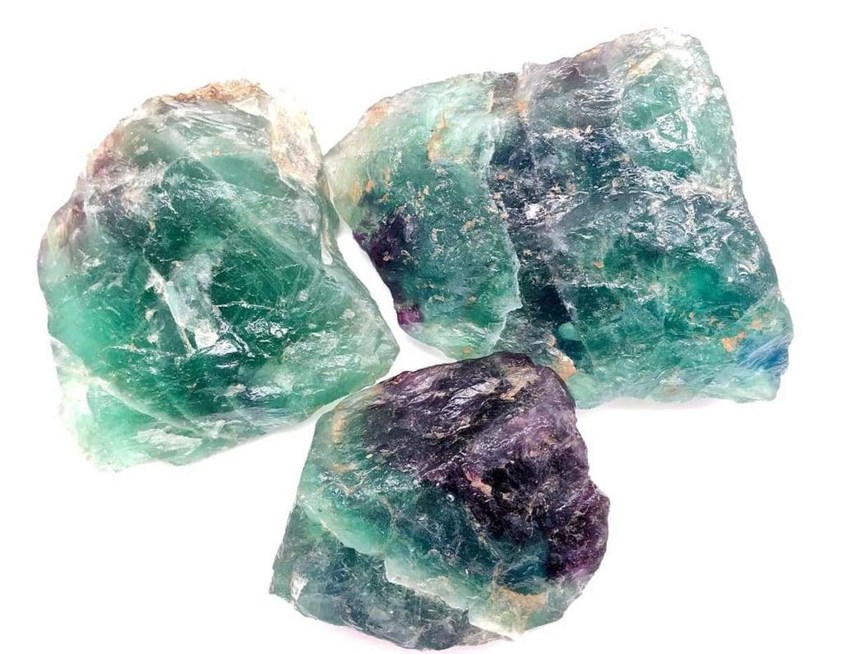 "Fluorite comes in many different shades, and this image is just one example. This is commonly referred to as ""rainbow"" fluorite because of the blue, green, and purple shades within it."