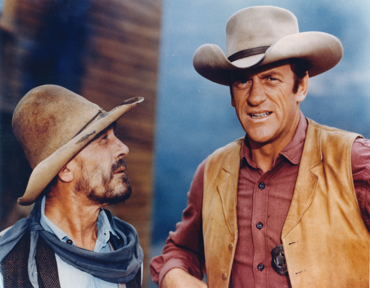 "(left( The late Ken Curtis ""Festus"" and James Arness ""Matt."""