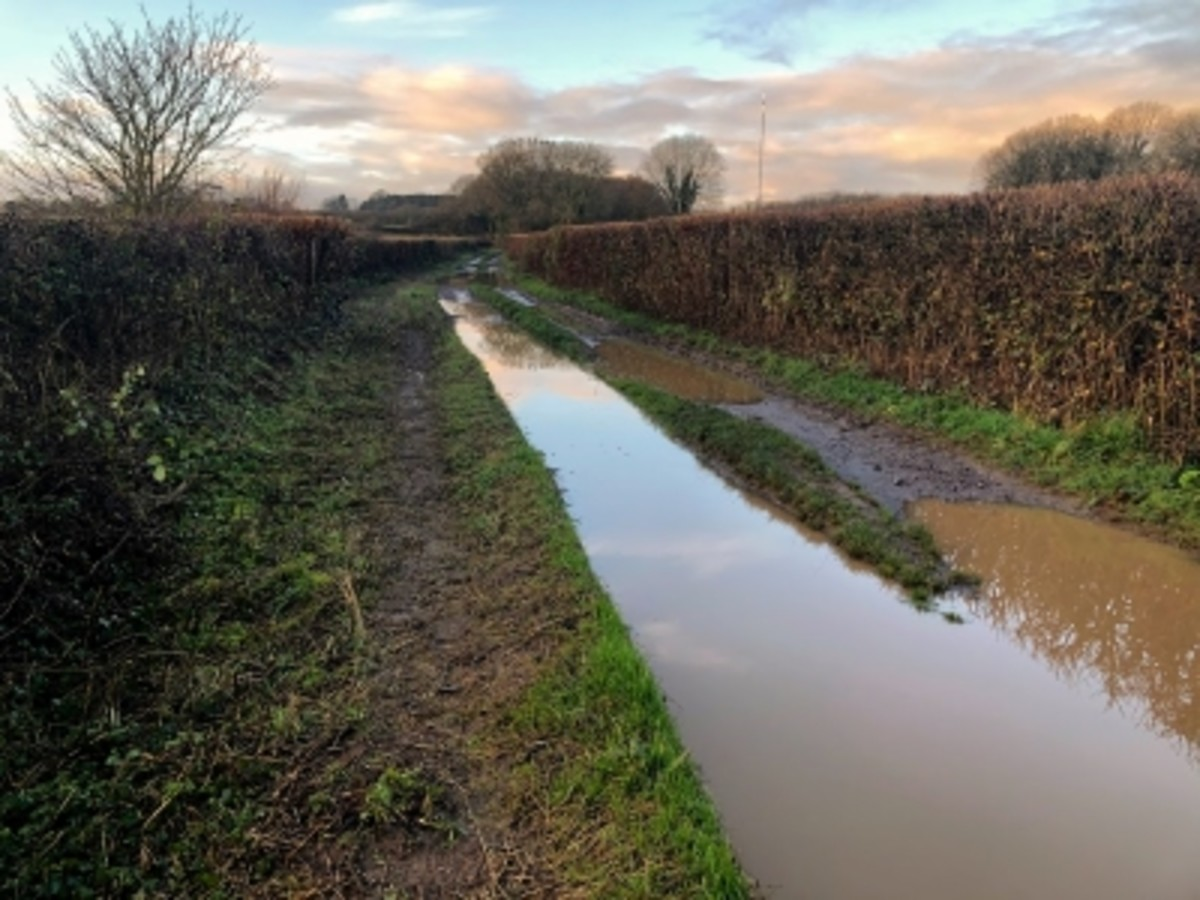 The flooded road got narrower and deeper as it went on, my already drenched feet weren't best pleased..