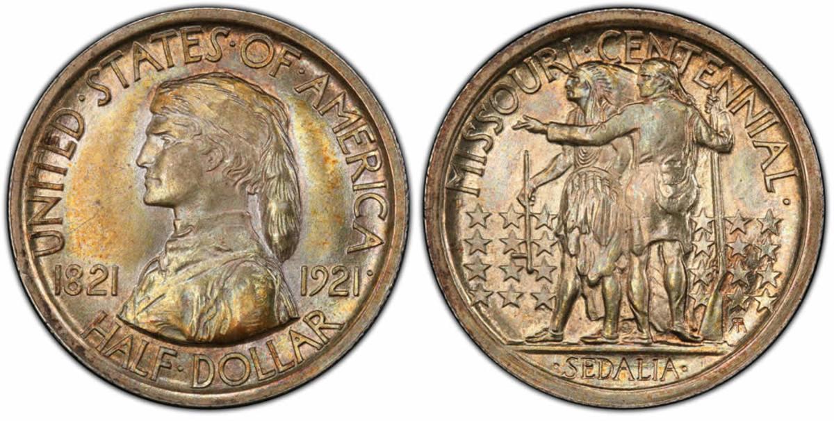 "1921 ""Plain"" Missouri Centennial Half Dollar Coin."